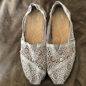 toms alpargata moroccan crochet slip-on Gray Lace
